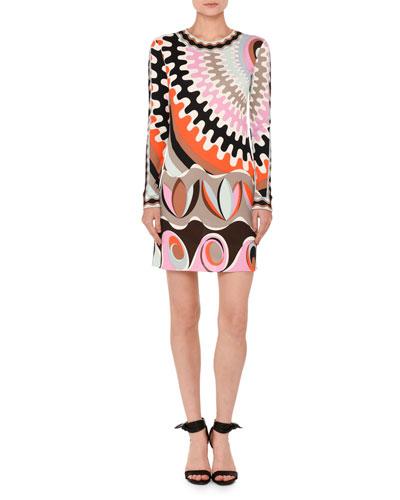 Marilyn Printed Long-Sleeve Round-Neck Dress, Orange/Pink