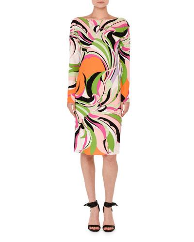 Marilyn Printed Long-Sleeve Boat-Neck Dress, Pink/Green