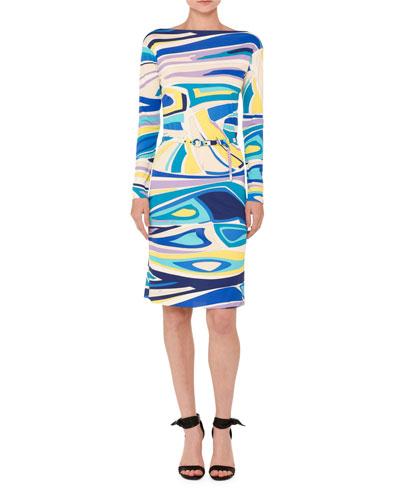 Marilyn Long-Sleeve Belted Boat-Neck Dress, Multicolor