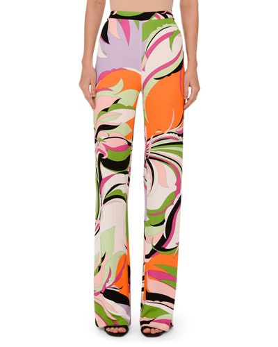 Printed Pull-On Palazzo Pants, Pink/Green