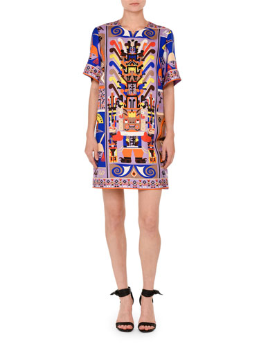 Printed Short-Sleeve Shift Dress, Purple/Blue
