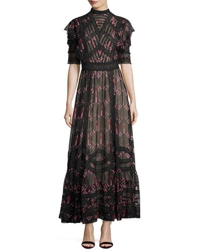 Love Blade Half-Sleeve Maxi Dress, Black