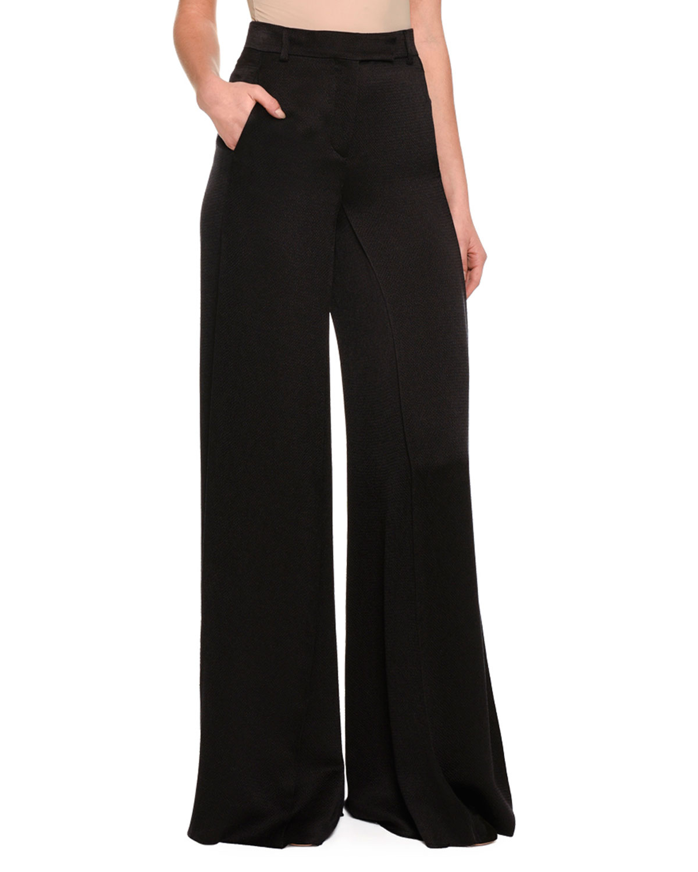 Silk-Blend Wide-Leg Trousers, Black