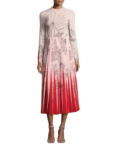 Garden of Delight Long-Sleeve Gown, Pink/Multi