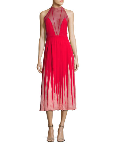 Sleeveless Pleated Contrast-Inset Gown, Red/Pink