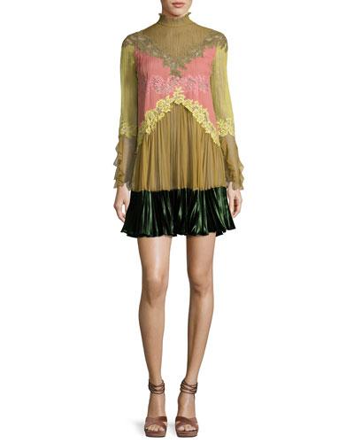 Lace-Trim Long-Sleeve High-Collar Dress