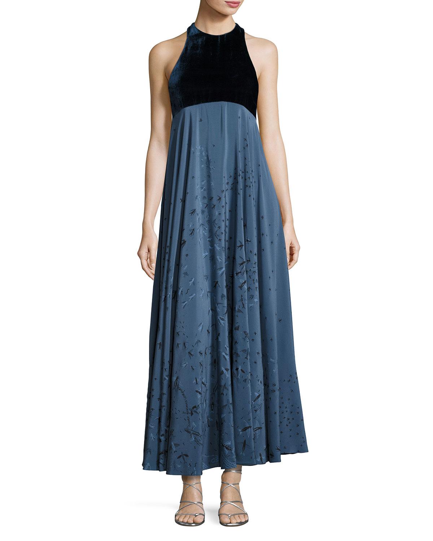 Metamorphosis Velvet Sleeveless Gown, Blue
