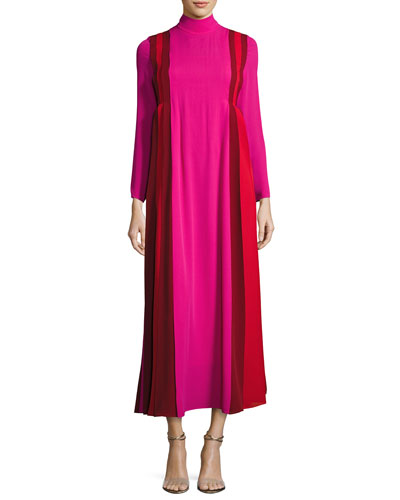 Mock-Neck Pleated Colorblock Silk Gown, Pink