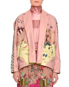 Jungle of Delight Embroidered Leather Jacket, Blush/Multi