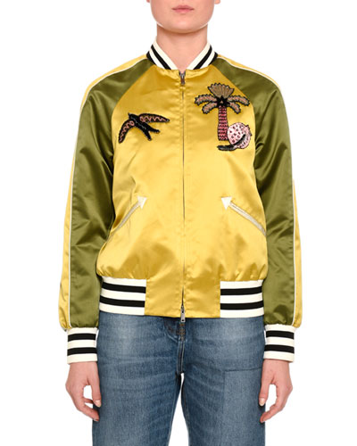 Embroidered Bicolor Bomber Jacket, Gold