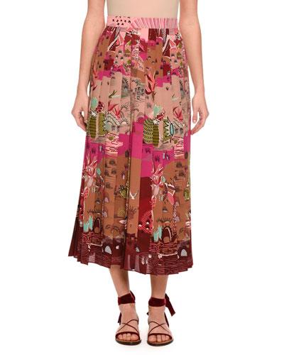 Garden of Delight Pleated Tea-Length Skirt, Multi