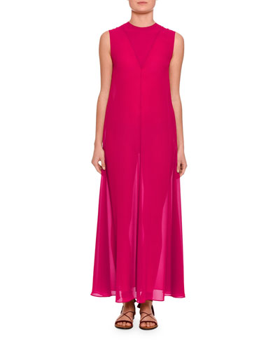 V-Detail Sleeveless A-Line Gown, Pink