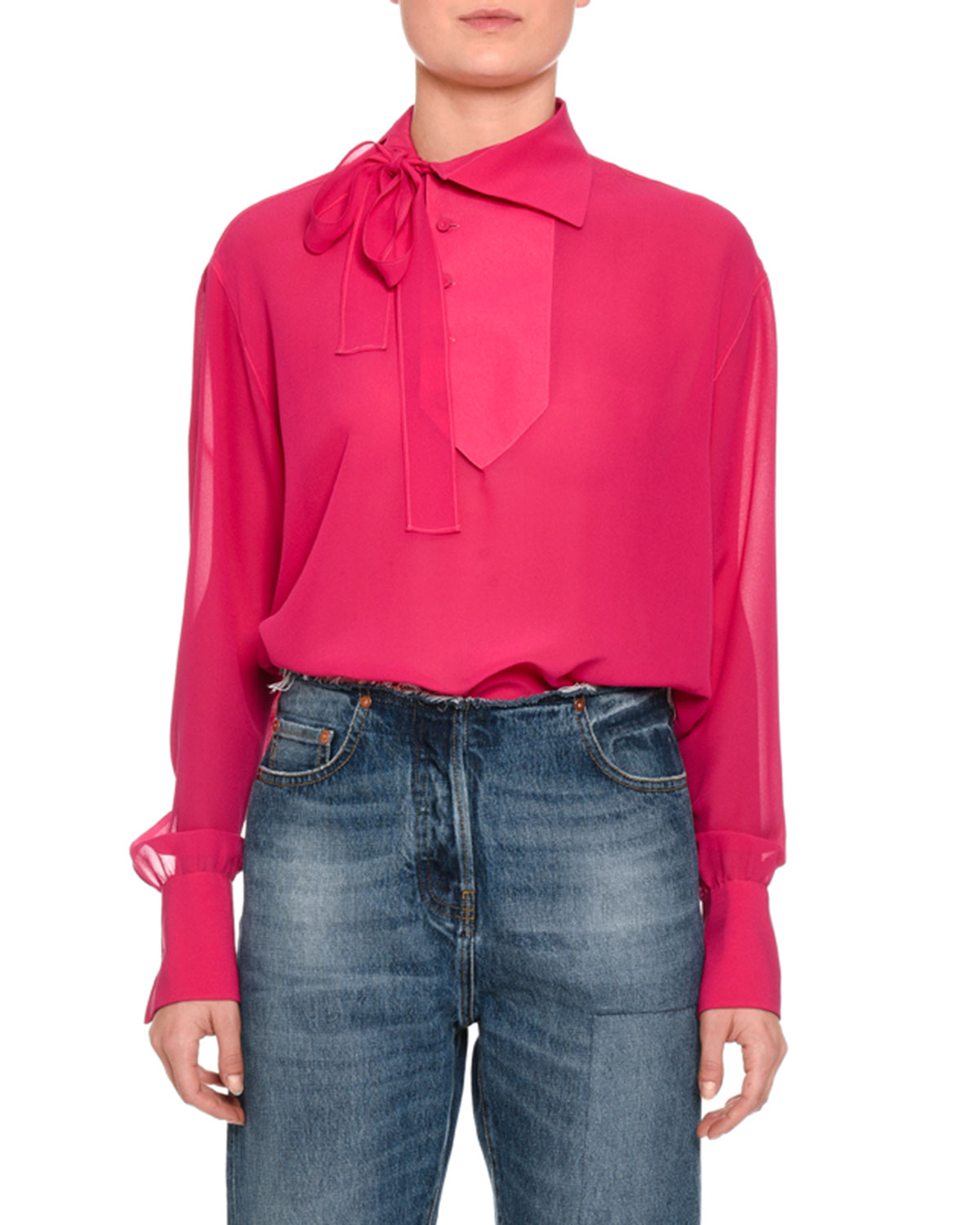 Tie-Neck Button-Detail Blouse, Pink