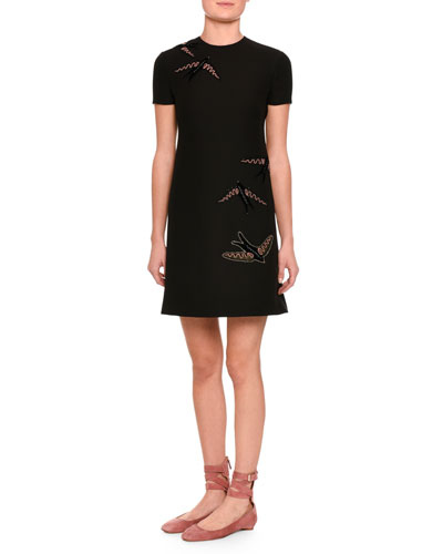 Embroidered-Swallow Short-Sleeve Dress, Black