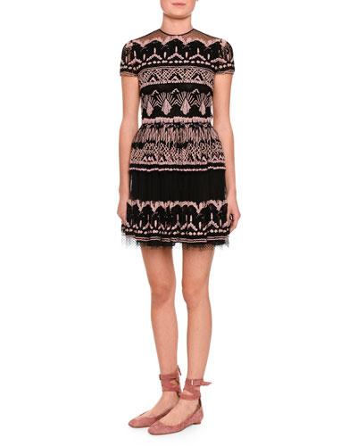 Short-Sleeve Bambolina Veletta Paradise Lace Dress, Black/Multi