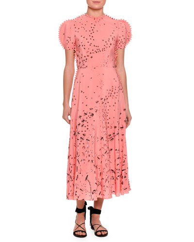 Metamorphosis Printed Tea-Length Dress, Pink/Multi