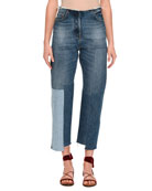 Patchwork Cropped Skinny Jeans, Light Blue