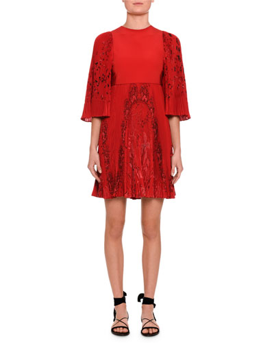 Jungle of Delight Printed Flutter-Sleeve Dress, Red