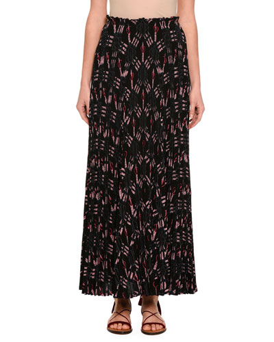 Love Blade Tea-Length Pleated Skirt, Black