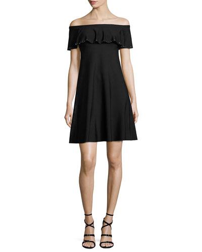 Off-the-Shoulder Stud-Trim Minidress, Black