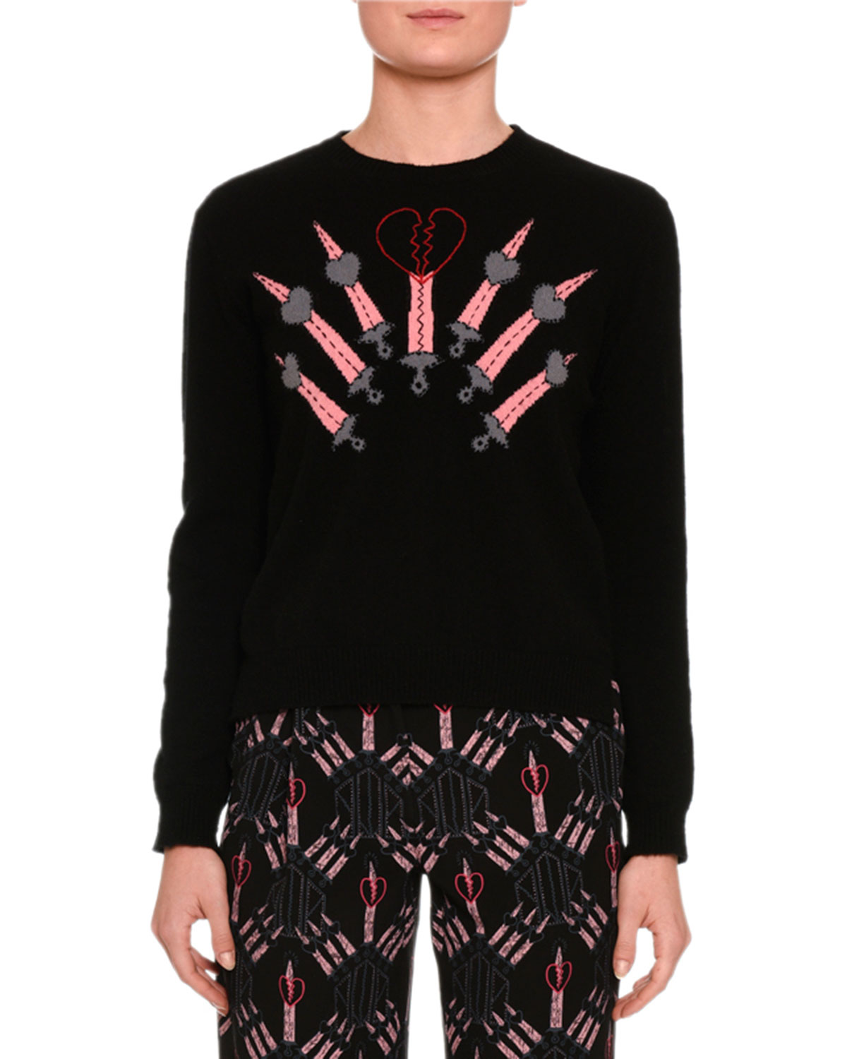 Love Blade Intarsia Crewneck Sweater, Black