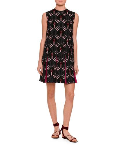 Love Blade Printed Sleeveless Dress, Black/Pink