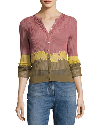 Lace-Inset Ribbed Cardigan, Dusty Rose/Yellow/Green