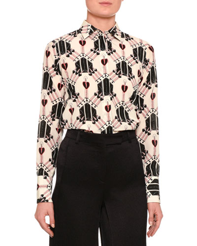 Valentino Love Blade Printed Long Sleeve Blouse Ivory | Top and Clothing