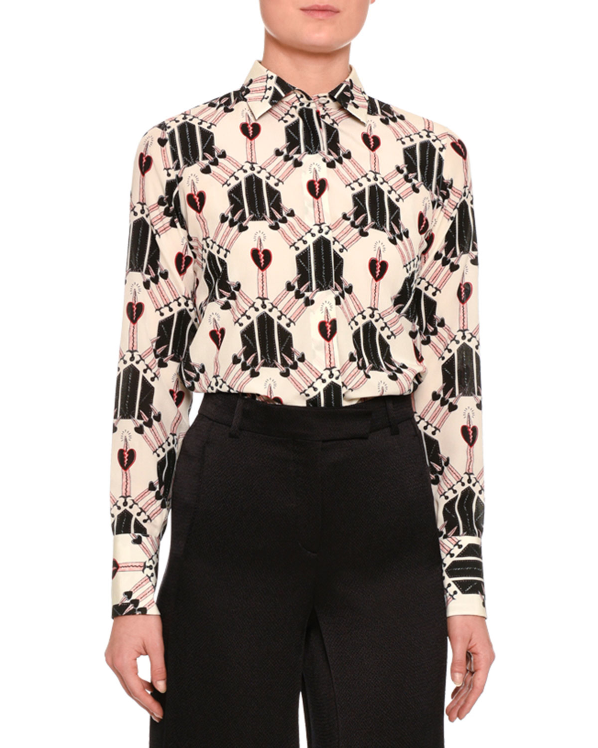 Love Blade Printed Long-Sleeve Blouse, Ivory