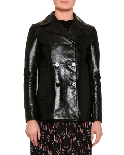 Double-Breasted Leather Jacket, Black