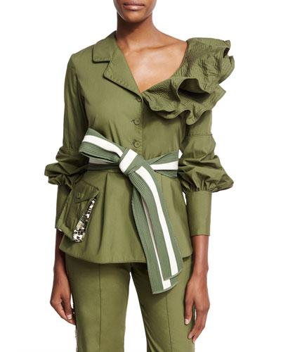 Paz Belted Ruffled Feminine Military Jacket, Olive