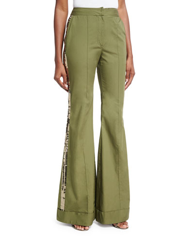 Embera Sequined-Stripe Flared Pants, Olive