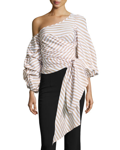 Leticia Pinstripe Off-Shoulder Wrap Blouse, White