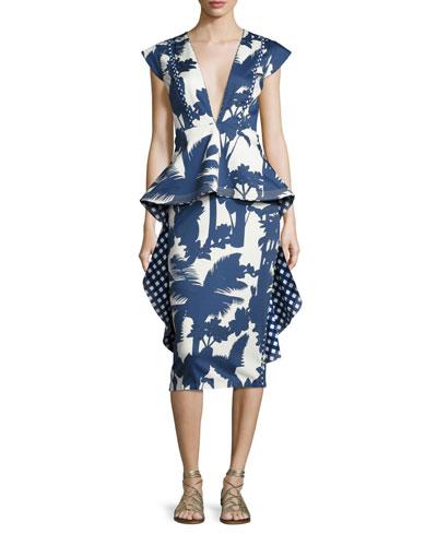 Palm-Print Deep-V Peplum Dress, Blue/White