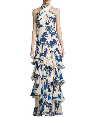 Magdalena Palm-Print Crisscross Halter Gown, Blue/White
