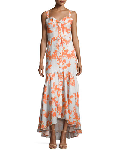 Playa de Belen Toucan-Print Tie-Waist Dress, Orange/Gray