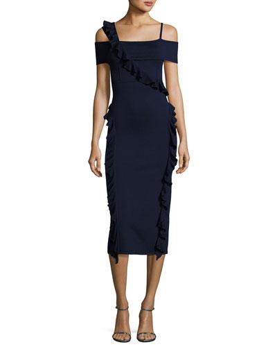 Off-Shoulder Ruffle-Trim Dress, Navy