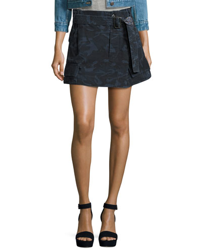 Belted Cargo-Pocket Mini Skirt, Blue Camouflage