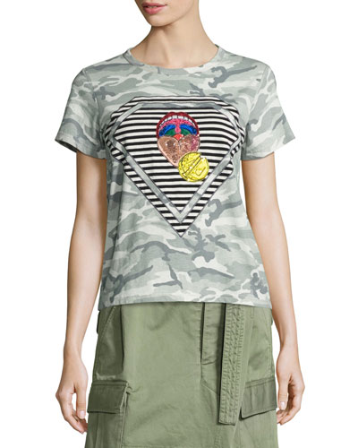 Julie Mouth Camouflage-Print Tee, Gray/Multi