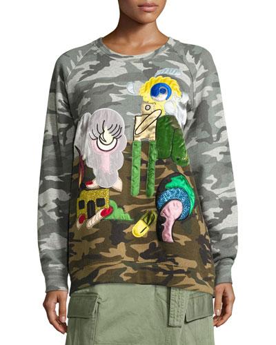 Julie Camouflage-Print Raglan Sweatshirt, Gray/Multi