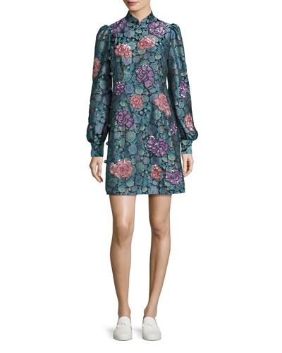 Rose Jacquard Long-Sleeve Mini Dress, Black/Multi