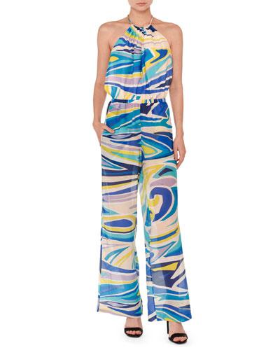 Halter Tie-Neck Wide-Leg Jumpsuit, Blue/Multi