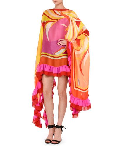 Printed Ruffled-Trim Poncho Top, Purple/Orange
