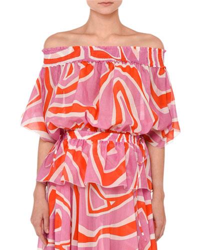 Printed Off-the-Shoulder Peplum Top, Pink/Orange