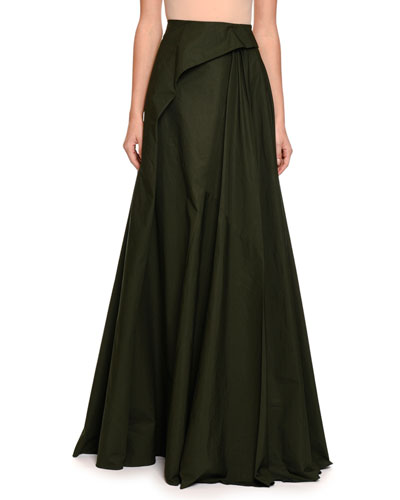 Pleated Cotton Maxi Skirt, Green/Black