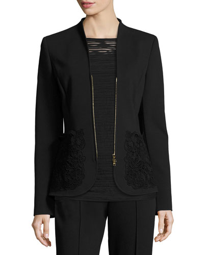 Lace-Pocket Zip-Front Jacket, Black