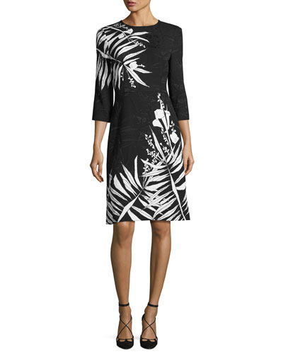 Leaf Matelassé 3/4-Sleeve A-Line Dress, Black/Multi
