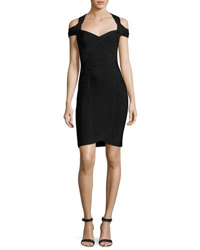 Katlin Cold-Shoulder Bandage Dress, Black