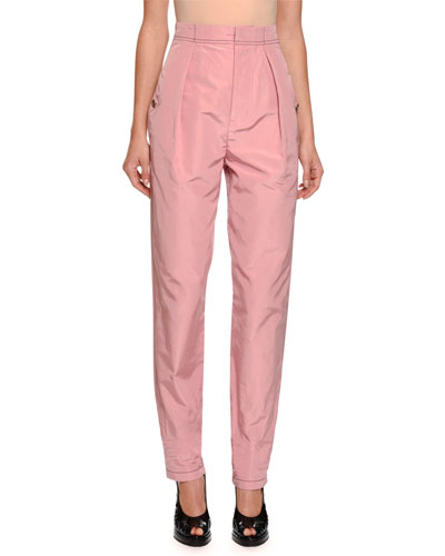 Gigi Faille High-Waist Pants, Pink
