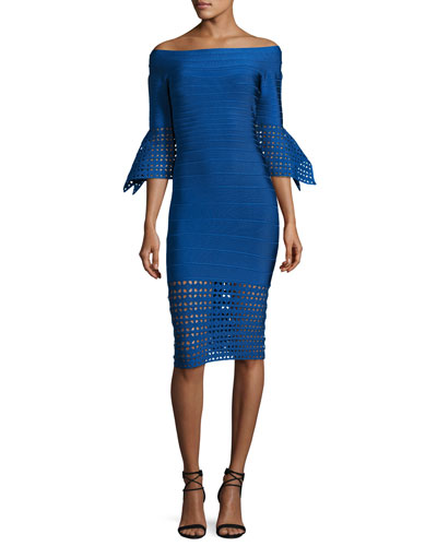 Roselynn Off-the-Shoulder Lattice-Trim Dress, Blue